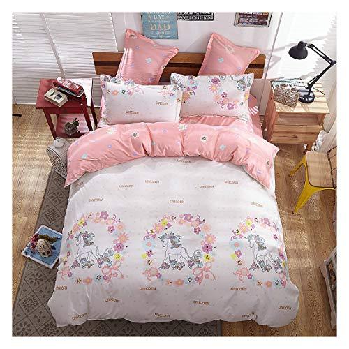 KFZ Girls Magic Unicorn Duvet Cover Set [4pcs Twin Duvet Cover 59'x79'- Flat Sheet, Two Pillow Cases No Comforter] Pink Princess Worthy Theme, Pink Unicorn for Kids Girls Bedding Set