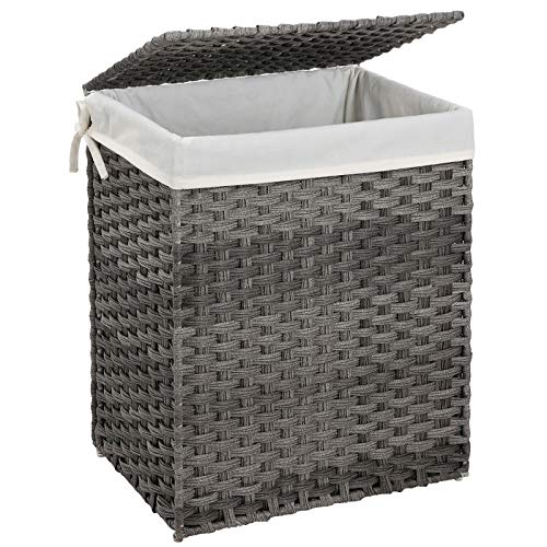 SONGMICS Handwoven Laundry Hamper, Synthetic Rattan Laundry Basket with Removable Liner Bag, Clothes Hamper with Handles for Laundry Room, Gray