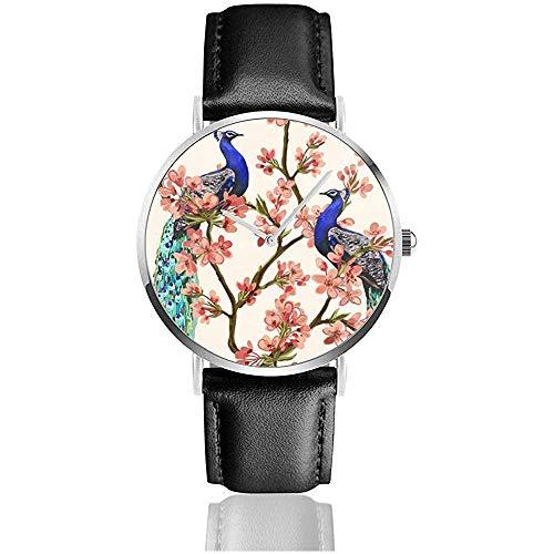 Mooi met Pauw Tropische Japanse Bloemen, Boom, Lente Behang, Takken. Mannen Sport Polshorloge Lederen Band Horloge