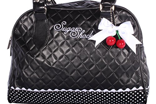 SugarShock Damen Budapester Weekender Cherry Bow rockabilly Bowling Handtasche Tasche, Schwarz, - 2