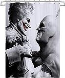 Visionpz Wasserdichter Duschvorhang Batman Joker Wasserfester, schnell trocknender Badewannenvorhang aus Polyestergewebe Waschbarer Badevorhang mit 12 Haken 180x200cm