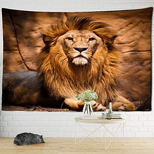 DSHF Tapestriestapestry wall hangingINS Popular Lion Pattern Tapestry Lonely Lion King Art Wall Hanging Mural Beach Towel Yoga Rug Tapis Bedroom Decor Crafts