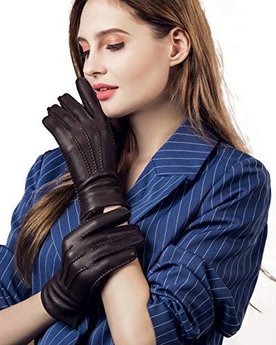 YISEVEN Mujer de cachemir forrado de piel de venado Guantess de cuero cosidos a mano y largo Pu?o de lujo real y forro térmico para el invierno Vestido de trabajo cálido de trabajo, Brown L
