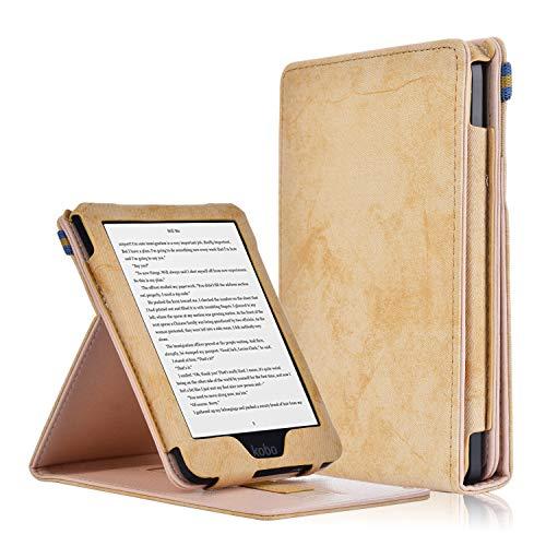 KOBO Klare HD Hülle - PU Lederhülle Schutzhülle mit Handgriff und Auto Aufwachen / Schlaf Funktion für KOBO Klare HD Touchscreen E-Book Reader 15,2 cm (6,0 Zoll) 2018 Modell, Khaki