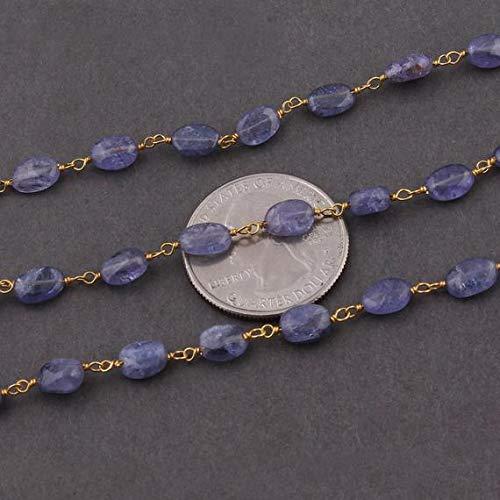 LKBEADS Cadena de cuentas ovaladas de 1 pie de tanzanita de 7 mm x 5 mm x 6 mm x 8 mm, cuentas ovaladas de Ovel Beads 925 Sterling Vermeil alambre envuelto cadena rosario