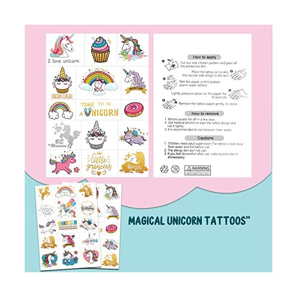 Partywind 30 Styles Metallic Glitter Temporary Tattoos for Kids,Unicorn Birthday Party Supplies Decorations for Girls… 6