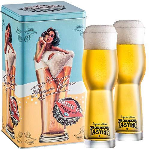 Kalea Beer Box | Metallbox mit 3D-Prägung | 4 X 0.33 L Bierspezialitäten | Inkl. 2 Verkostungsgläser (Edition Lady in Glass)