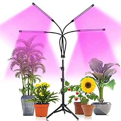Plant Grow Light with Stand Adjustable 15-47 Inch,Four-Head Plant Growing Lamp with Red Blue LED Bulbs for House Plants,Dimmable 3 Light Modes with Auto On/Off Timing 3 9 12 Hrs