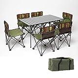 VBARV Camping Klapptisch und Stuhl Set, tragbarer kompakter Camp Tisch, 6 Stühle mit Rückenlehne, leicht, mit Tragetasche, für Kochen im Freien, Festival, Strand