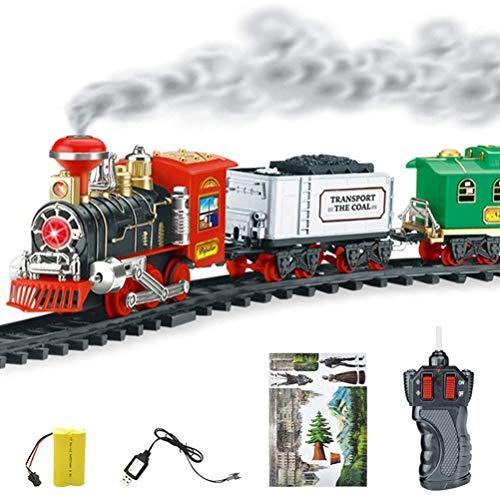 RetroFun Tren de Juguete eléctrico, Tren de Juguete clásico de Navidad con Control Remoto para niños Tren de Vapor con música y luz, Gran Accesorio para niños y decoración navideña