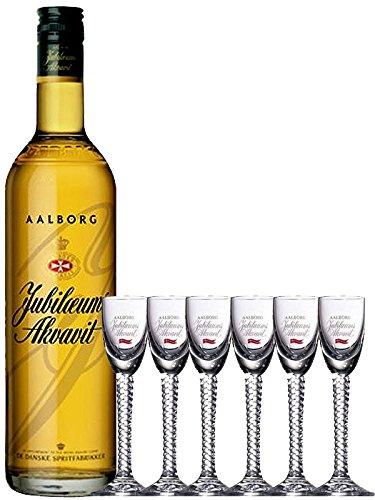 Aalborg Jubiläums Akvavit braun 0,7 Liter + 6er Set Gläser mit Eichstrich 2 cl