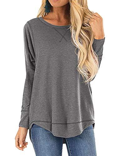 HIYIYEZI Fall Tops for Women Long Sleeve Side Split Casual Loose Tunic Top (Large,Dark Gray)