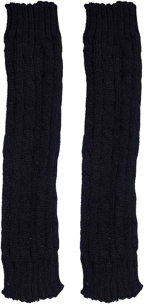Rebecca Women Girl Braid Long Fingerless Gloves Twist Knitting Arm Warmer Mitten
