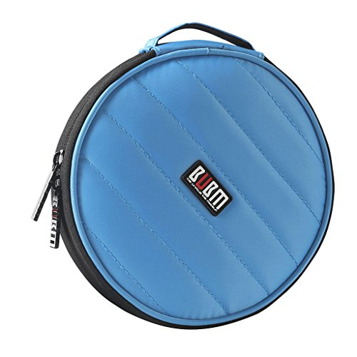 0721H BUBM Portable Round 32 CD Disc Storage Case Bag Heavy Duty CD/DVD Wallet for Car, Home, Office and Travel (Blue)