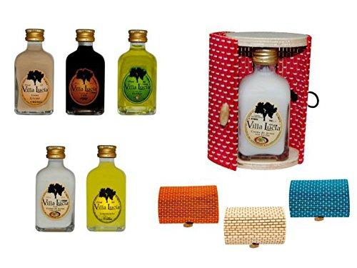 Lote de 15 Botellas de Licor Minis (Sabores a Elegir) en Cajas de Mimbre Ovaladas. Detalles de Bodas y Eventos. (8 cm. - 5 cl.)(6 x 10 cm.) (Hierbas)