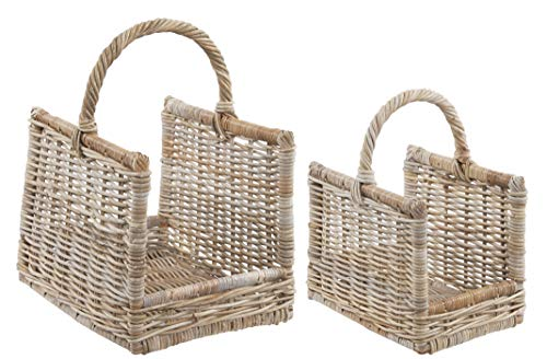 Rattan Wicker Log Carrier Basket Grey and Buff Set of 2
