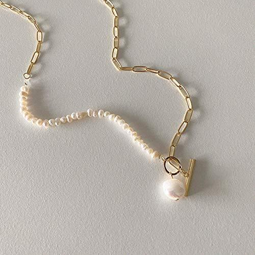 Collar Mujer Metal Agua Dulce Perla Ot Hebilla Cadena De Cuello Cadena De Clavícula Collar de perlas de agua dulce chapado en oro real