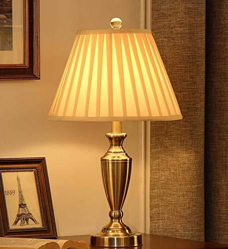 XWZH lámparas de mesa Dormitorio americano lámpara de mesa de gama alta, lámpara trasera retra romántica cálida casa sala de estar iluminación escritorio lámpara (Color : Button Switch)