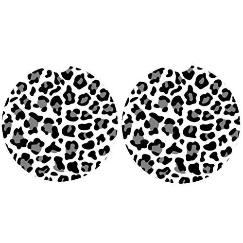 Car Coasters Pack of 2,Leopard Print Absorbent Ceramic Car Coasters,Drink Cup Holder Coasters,with A Finger Notch for Easy Removal(Grey)