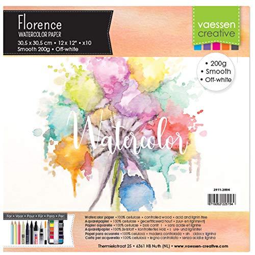 Vaessen Creative 2911-2004 Florence Aquarellpapier 30,5 x 30,5 cm in Elfenbein Weiß, aus 200 g/m² Glattem Papier, 10 Blatt für Scrapbooking, Aquarellmalerei, Handlettering und Brush Lettering