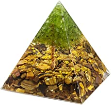 Nupuyai Tree of Life Peridot and Tiger's Eye Crystal Orgone Pyramid Stone for Protection, Reiki Healing Chakra Meditation Energy Generator for Home Decor