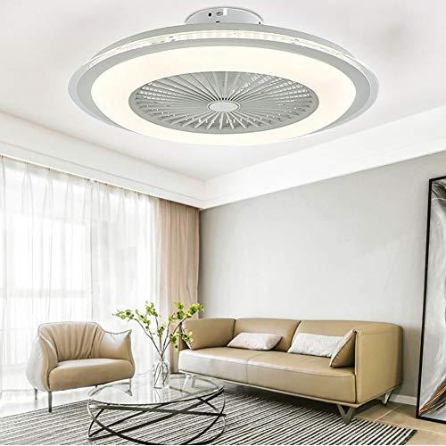 Ventilador de techo con iluminación LED regulable, lámpara de techo con mando a distancia, ultrasilencioso, velocidad ajustable, temporizador para dormitorio o salón