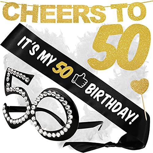 Inedit Festa CHEERS TO 50 YEARS Guirnalda Dorada 50 Años Banda Honorífica Its my 50 Birthday Gafas Negras 50 Años