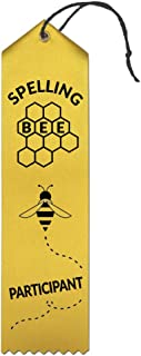 Spelling Bee Particpant Award Ribbons - 25 Count Bundle - Includes Event Card and String - Made in The USA