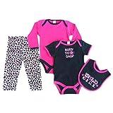 Baby-Strampler-Set für Mädchen, 2- / 4-teilig, mit Tiermotiv, Leggings mit Punkten, Hose, Lätzchen-Motiv, Baumwolle, kurzärmelig, für Neugeborene bis 9 Monate