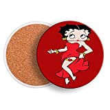 Betty Boop Absorbent with Holder Drink Coasters with Cork Base Absorbent Coaster Set Housewarming Gift 4 inch in Diameter