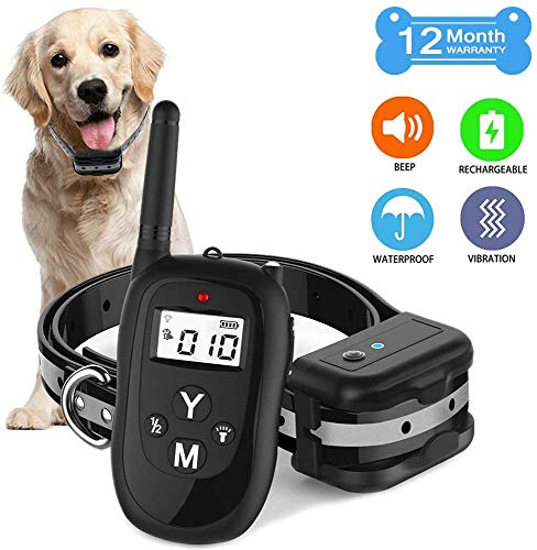 Dog Training Collar with Remote, 2019 Upgraded 1000ft Rechargeable Waterproof Remote Control Training Collar, 3 Adjustable Beep/Vibration/Electric Shock Collars for Small/Medium/Large Dogs(Black)