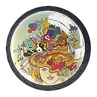 引き出しノブプルハンドル4個 クリスタルガラスのキャビネットの引き出しは食器棚のノブを引っ張る,女の子