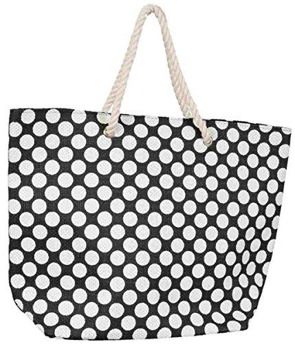 Clayre & Eef BAG131Z tas shopper strandtas zwart punten wit