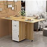 VBARV Mesa de Comedor Plegable móvil, Mesa de Comedor Extensible Multifuncional Moderna Simple, Mesa de Cocina de Hoja abatible, Mesa retráctil para apartamento pequeño con Almacenamiento