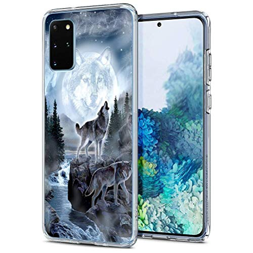 Eouine for Samsung Galaxy S20 Case, Phone Case Transparent Clear with Pattern Ultra Slim Shockproof Soft Gel TPU Silicone Back Cover Bumper Skin for Samsung Galaxy S20 (Wolf)