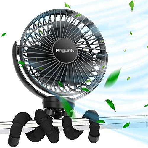 XINAYUEJP Ventilador USB Ventilador Carrito Bebe,Ventilador PortáTil De BateríA Recargable PortáTil De 2000 Mah, Adecuado para Oficina/HabitacióN De NiñOs/Exterior (Negro)