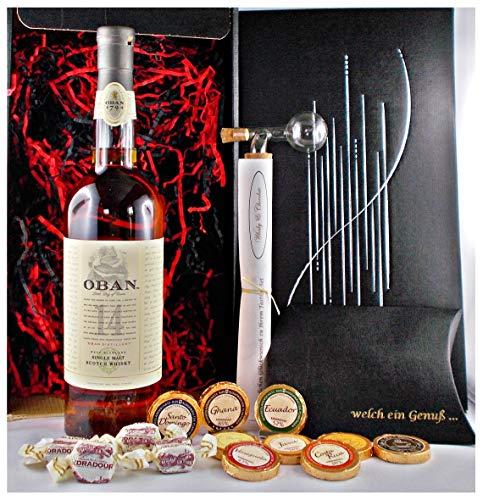 Geschenk Oban 14 Jahre Single Malt Whisky + Glaskugelportionierer + Edelschokolade + Fudge