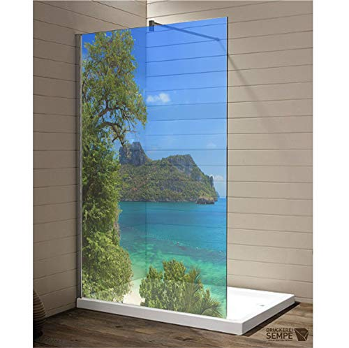 Interfoil Duschkabinen Aufkleber Südsee, Sichtschutz Duschabtrennung, hochwertiger Druck auf Glasdekor -Folie in Sandstrahl -Optik mit satinierten Oberfläche