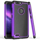 TILL for ZTE Blade Z Max / Z982 Case, TILL(TM) [Purple] [Shock Absorption] Dual Layer Hybrid Rugged Defender Soft Rubber & Hard Plastic Protective Grip Cute Case Cover for ZTE Sequoia