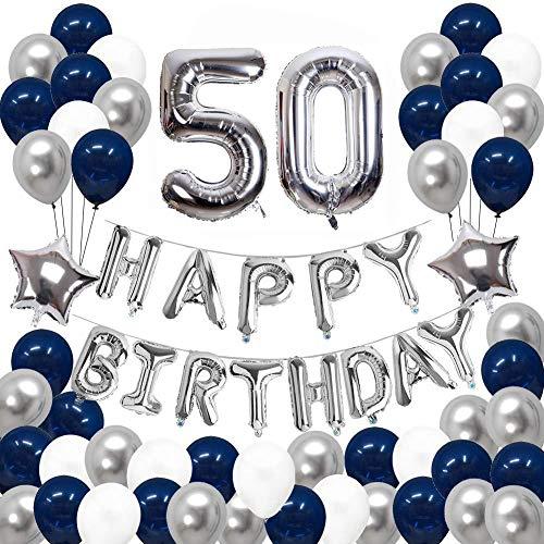 JinSu 50 Jahre Geburtstag Luftballons Dekorationen für Männer, 68 Stück