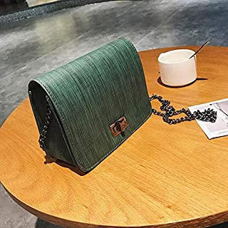 shoulder bag with non-detachable narrow metal chain strap, metal flip lock and wooden pattern. One inner compartment with polyester lining cbs04 green