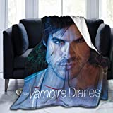 Vampire Diaries Damon Salvatore Blanket Poster for Bedroom Merch Couch Flannel Size 60x50 in Soft Warm Winter Throw Blanket for Girl Kid