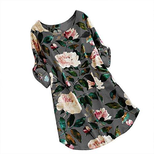 TWIFER Lose Blumenkleider Damen Beiläufiges Sommer Strand Langes Hülsen T Shirt Kleid(X1-Grau,M)