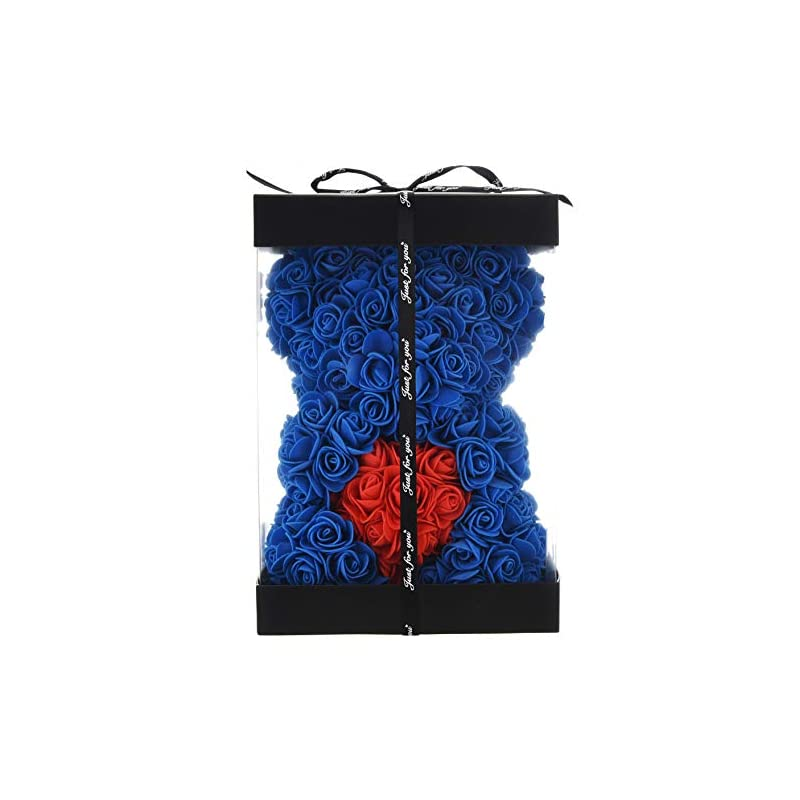 silk flower arrangements rose flower bear - fully assembled rose teddy bear - over 300 dozen artificial flowers - gift for mothers day, valentines day, anniversary & bridal showers gifts for girls women (royal blue, 10inc)