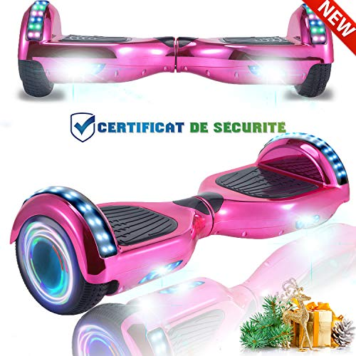 CHIC 6.5 Inch Balance Board, Self Balancing Electric Scooter, Skateboard Wheels with LED Light, Motor 700W Bluetooth for Kids and Adults( Electroplated Pink)