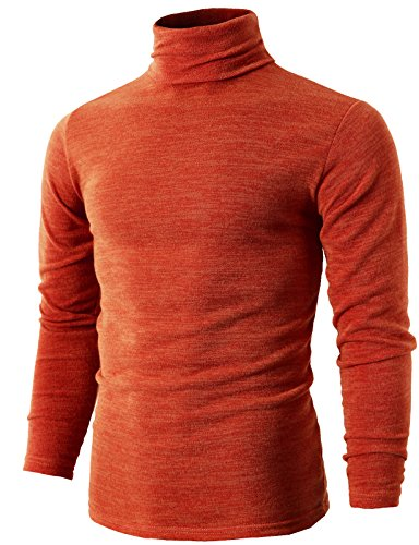 H2H Mens Cashmere Ribbed Turtleneck Pullover Sweater Orange US 2XL/Asia 5XL (KMTTL028)