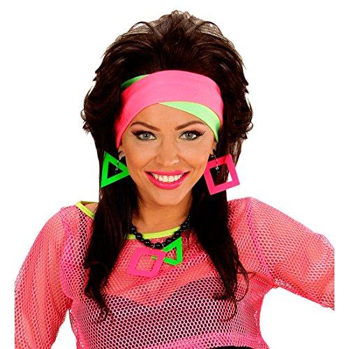 NET TOYS 80er Jahre Neon Stirnband Haarbänder Haarband Stirn Bänder Haar Accessoire Band Kopf Schmuck Haarschmuck Kopfband Party Kostüm Klamotten Kleidung Accessoire