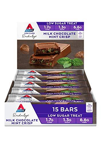 Atkins Endulge Milk Chocolate Mint Crisp Bars   Keto Friendly Bars   15 x 30g Low Carb Milk Chocolate Mint Bars   Low Carb, Low Sugar, High Fibre   15 Bar Pack