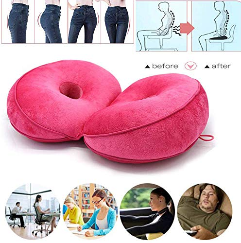 powerful Double Comfort Cushion Lift Hip Up, Seat Cushion, Beautiful Ass, Latex Cushion, Orthopedic Posture Correction Cushion, Sciatica Relief, Coccyx Pain, Car, Ideal for Home Office (Rose Red)