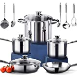 HOMI CHEF 14-Piece Mirror Polished Nickel Free Stainless Steel Cookware Set (No Toxic Non Stick...